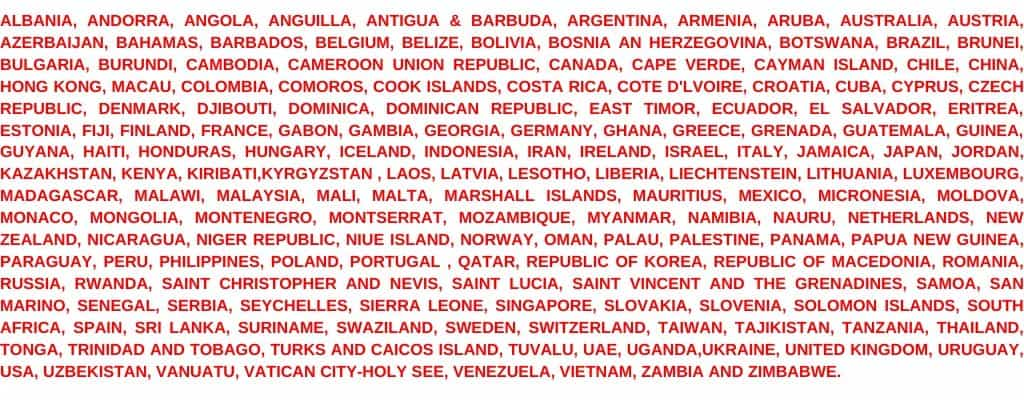 166-countries allowed e-visa to India