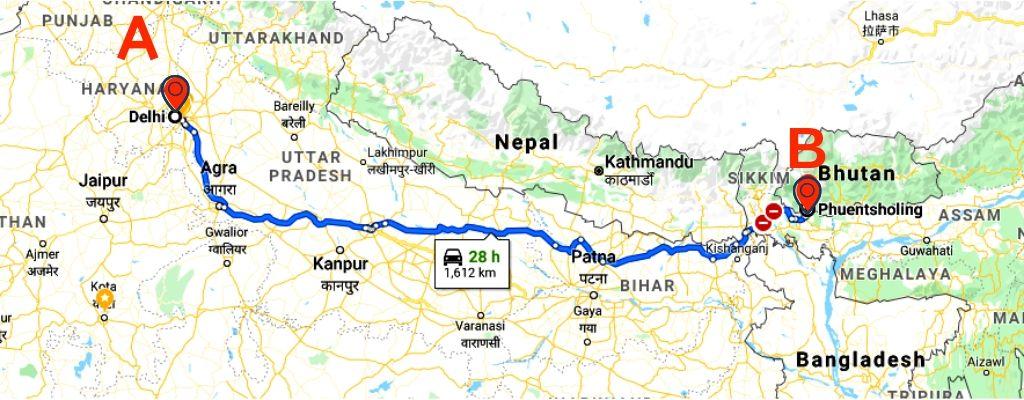 distance to Bhutan from Delhi