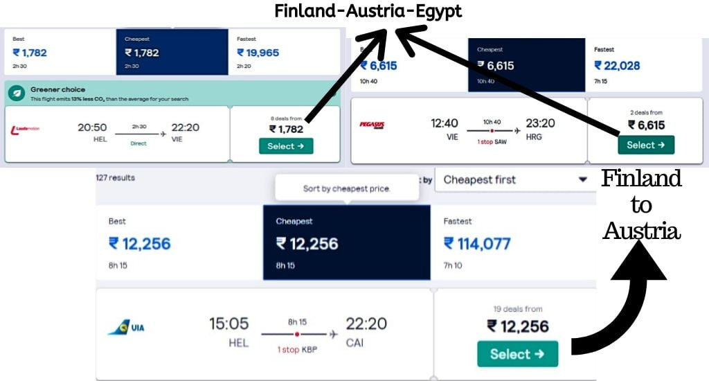 skyscanner flight fare comparison between direct flight and connecting flight