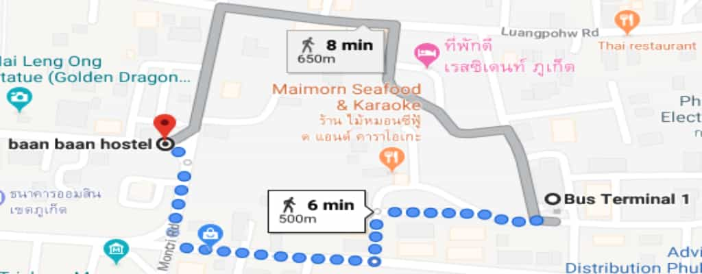 Distance from hostel to phuket bus terminal for krabi travel