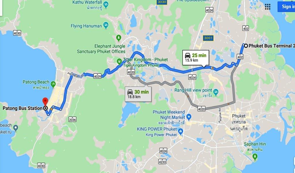 patong to phuket town road map