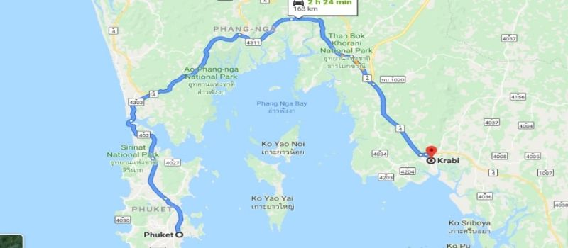 Phuket to Krabi Distance Map view