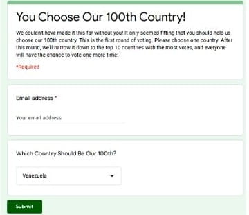 Kara & Nate 100th country vote form