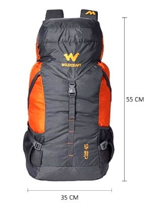 Wildcraft 45 Ltrs Grey and Orange Rucksack from the top brands