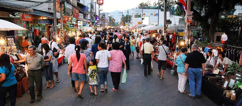 Sunday walking street market in Phuket Town