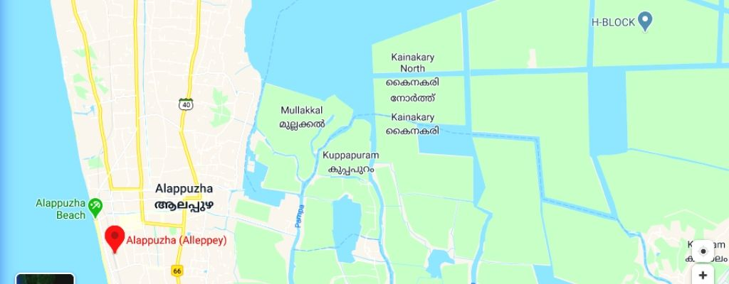 alleppey backwaters map
