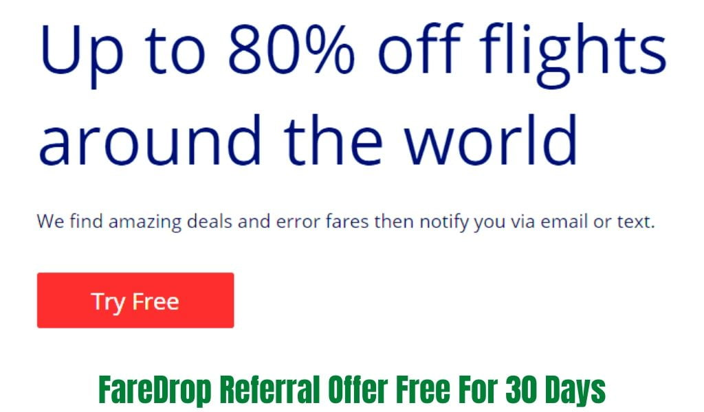 Free FareDrop Subscription Offer For 30 Days