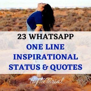23 Whatsapp One Line Inspirational Status, Inspiring Quotes