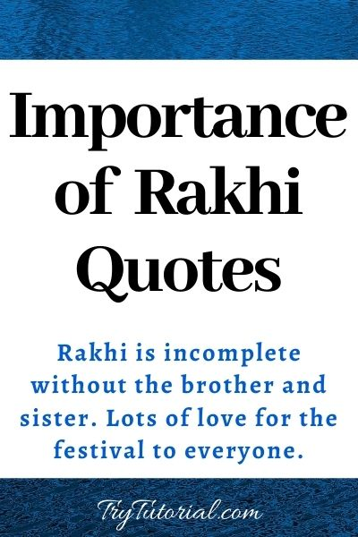 Importance of Rakhi Quotes