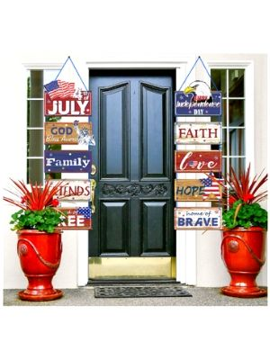Fourth of July White Blue Hanging Sign Decoration