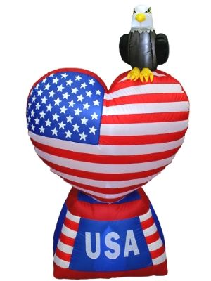 Inflatable Love Heart with American Flag