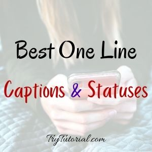 Best One Line Instagram Caption & Statuses