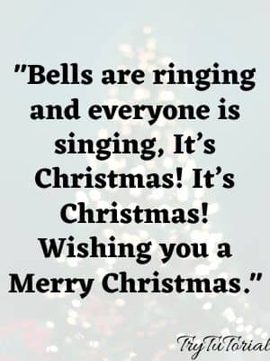 Bells are ringing and everyone is singing, It's Christmas! It's Christmas! Wishing you a Merry Christmas.