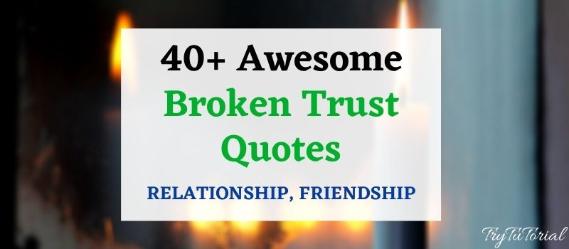 Best 40+Awesome Broken Trust Quotes