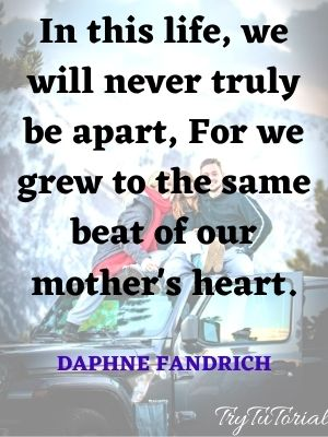 In this life, we will never truly be apart, For we grew to the same beat of our mother's heart. Daphne Fandrich
