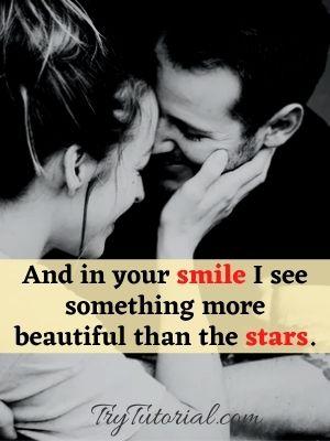 One Line Smile Caption On Love