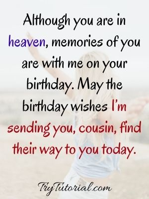 Happy Birthday In Heaven For Cousins
