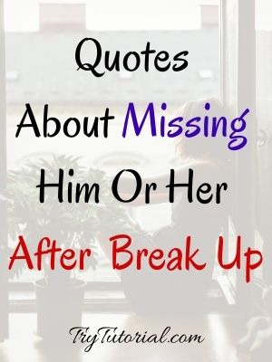 Quotes About Missing Him Or Her After Break Up