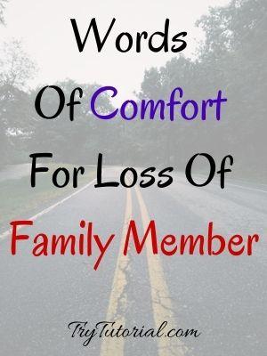 Words Of Comfort For Loss Of Family Member
