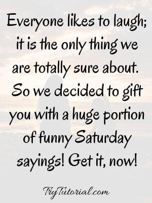 Funny Saturday Sayings